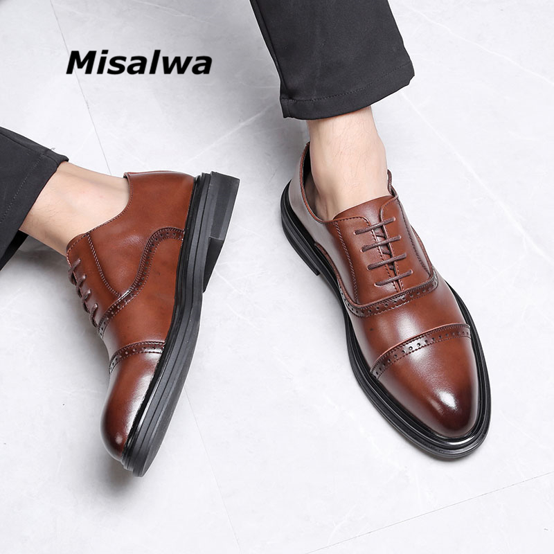 Misalwa Triple Joint Men Casual Dress Shoes Male Oxfords Office Shoes Men Wedding Party Leather Shoes