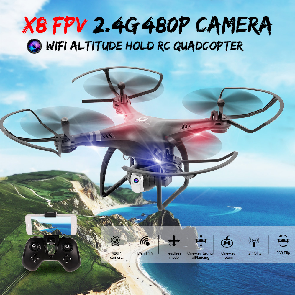 Dongmingtuo X8 FPV 2.4G 720P HD Camera High Hold Mode Wifi Altitude Hold RC Quadcopter X8 FPV 720P Wifi Drone