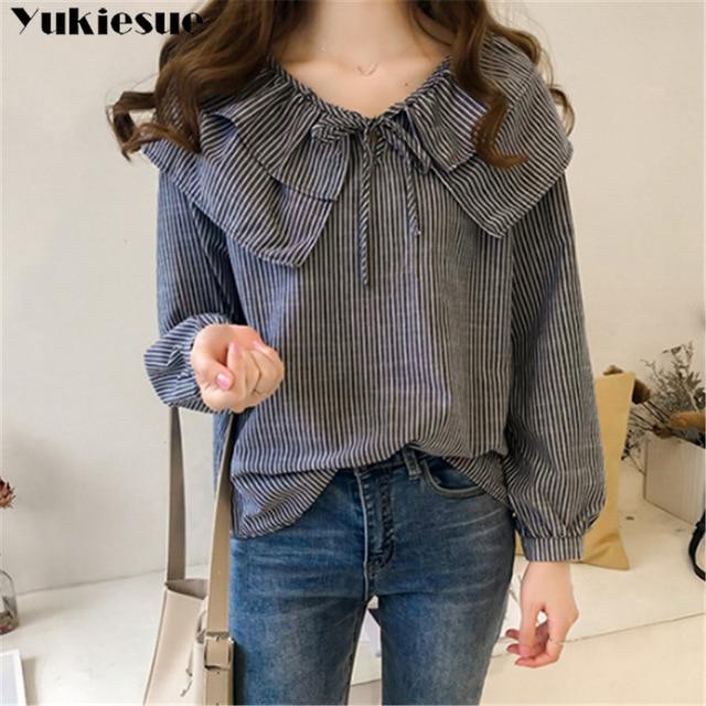 woman blouses long sleeve ruffless striped summer women's shirt blouse for women blusas womens tops and blouses chiffon shirts 4