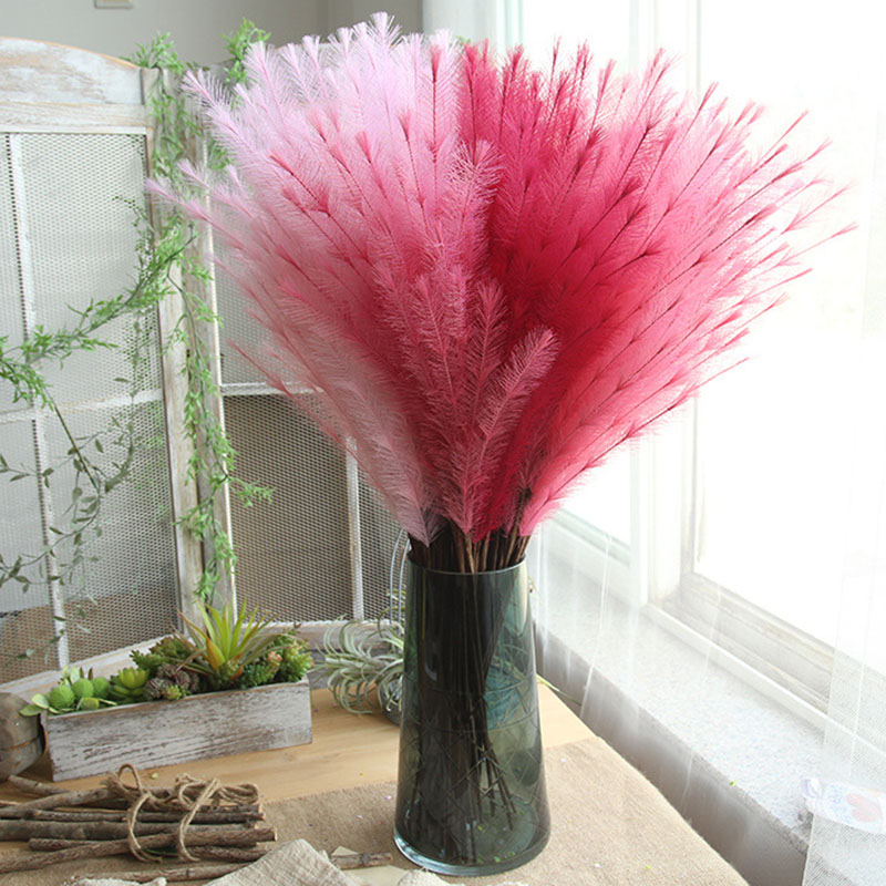 1pcs 77cm PE Hairy Grass Artificial flowers Fake Grass for Wedding Bridal Hands Holding Flower Home Garden Decoration Flower in Artificial Dried Flowers from Home Garden