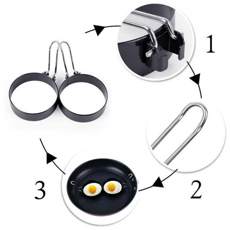 Handle Non Stick Metal Egg Frying Rings Perfect Circle Round Fried// Poach Mold