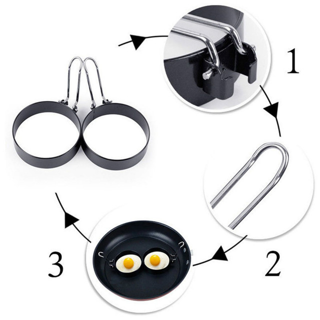 Metal Egg Frying Rings Perfect Circle Round Fried/Poach Mould + Handle Non Stick Pancake Mold Kitchen Tools Egg Cooker Cooking