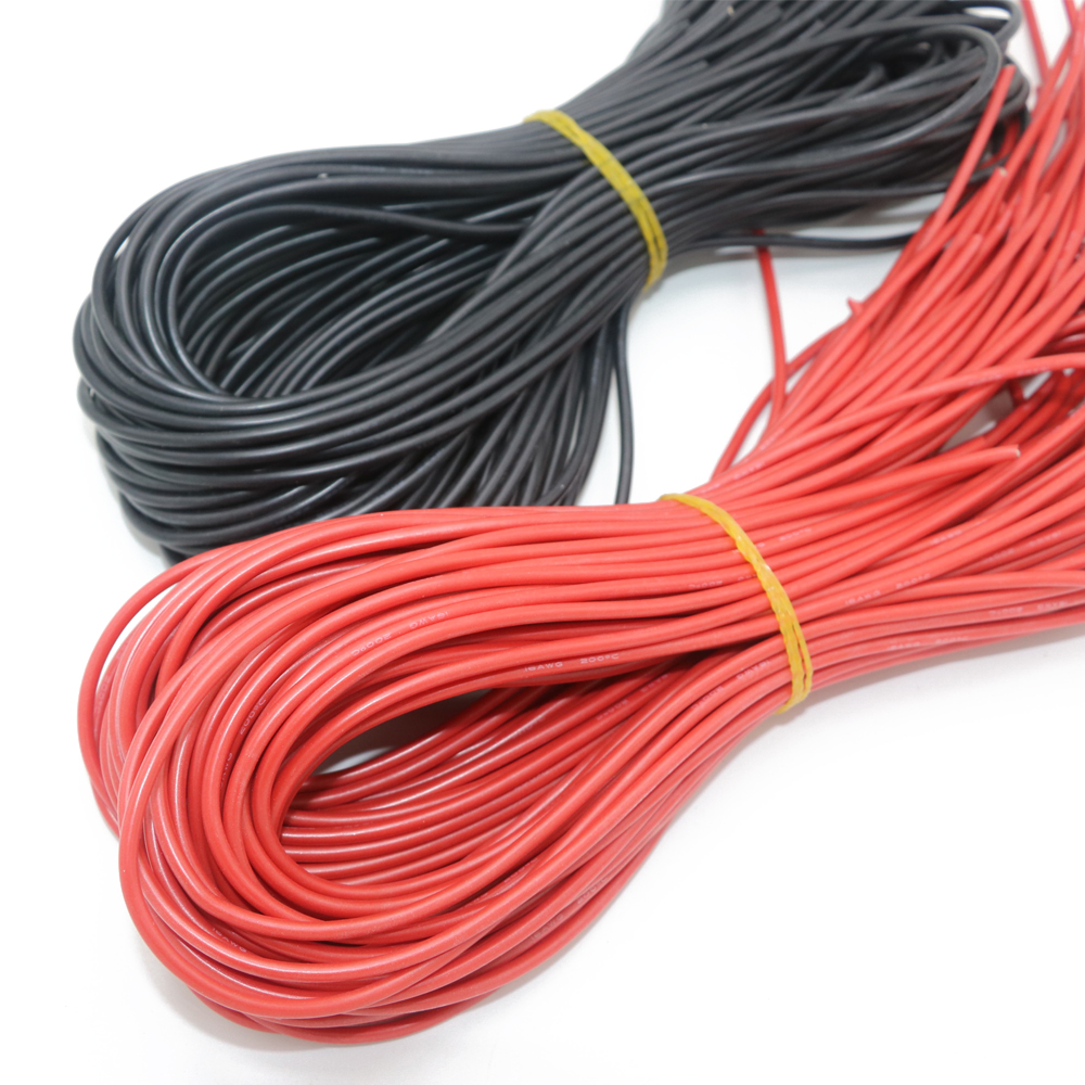 10M Two <font><b>Wires</b></font> 8/10/12/16/18/20/26 <font><b>AWG</b></font> Silicone <font><b>Wire</b></font> SR <font><b>Wire</b></font> Flexible Stranded Copper Electrical Cables 5M black 5M red For RC image