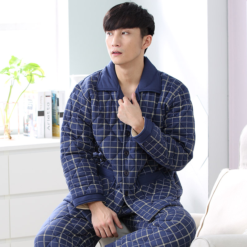 Men Blue Plaid Pajama Set Winter 3 Layer Quilted Pyjamas Suits Thick Cotton Warm Sleepwear Night Suit Big Size Lounge Nightwear