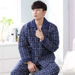 Men Blue Plaid Pajama Set Winter 3 layer Quilted Pyjamas Suits Thick Cotton Warm Sleepwear Night Suit Big Size Lounge Nightwear
