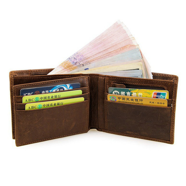 GENODERN Patchwork Style Cow Leather Male Purse Short Wallet for Men Genuine Leather Wallets Brown Male Purses Men Wallets 3