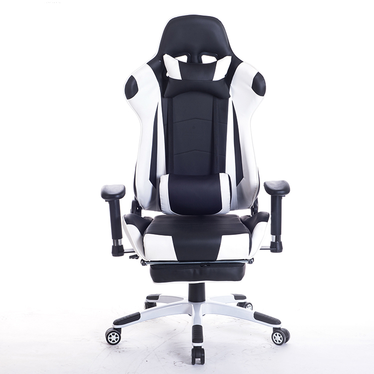 Racing EU Reclining Massage Chair Comfortable Computer Office Chair 360 Degree Revolving Gaming Recliner Armchair With Footrest