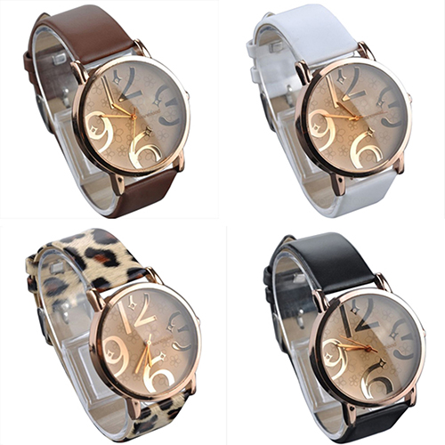 New Women's Watches Casual Alloy Flower Big Numbers Dial Faux Leather Strap Clock Quartz Wrist Watch Ladies Watch Reloj Mujer