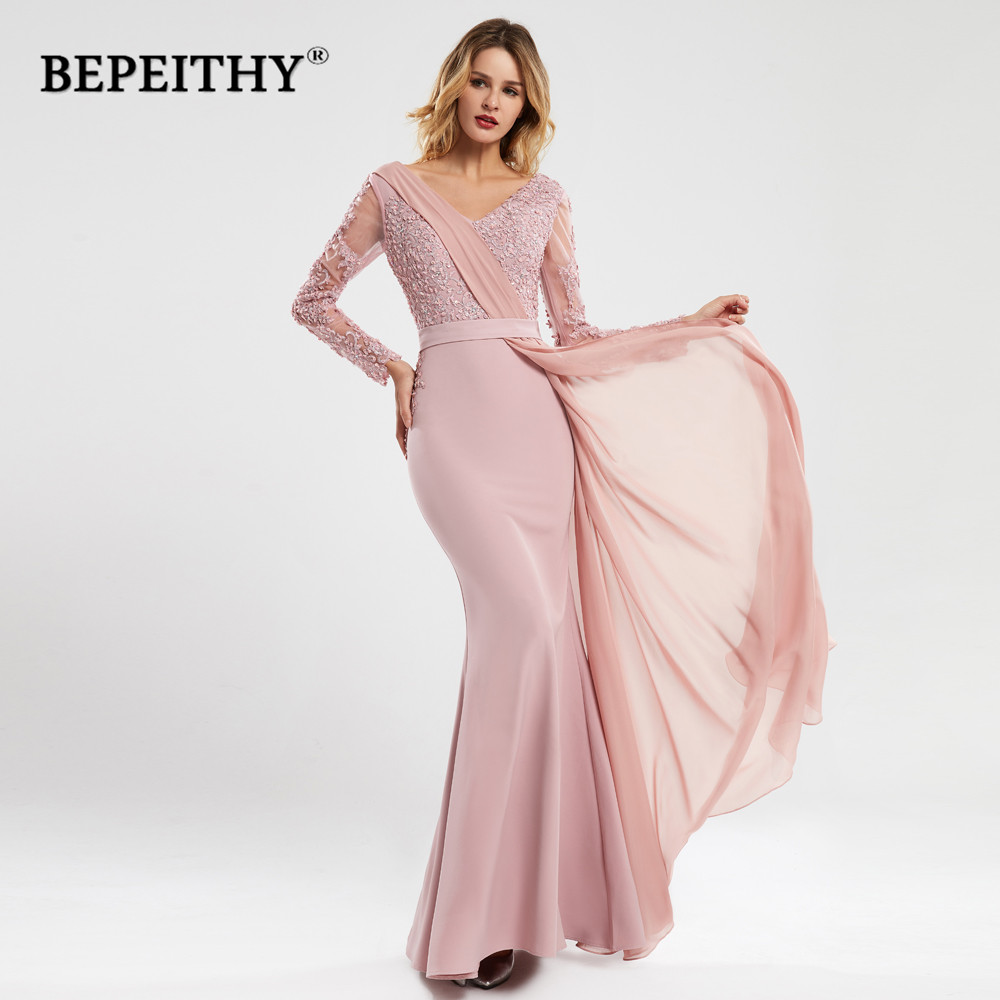 BEPEITHY V Neck Pink Evening Dress With Flow 2020 Robe De Soiree Elegant Full Sleeves вечернее платье Prom Party Gown Abendkleid