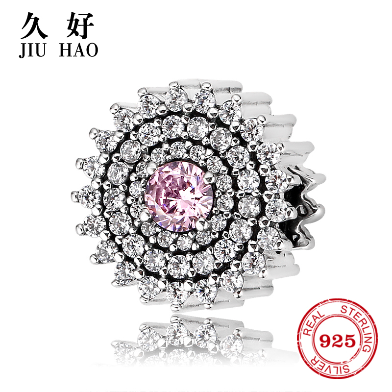 925 sterling silver pink lovely beads women bangles birthday valentine's day gift Fit Original Pandora Charms Bracelet Jewelry(China)