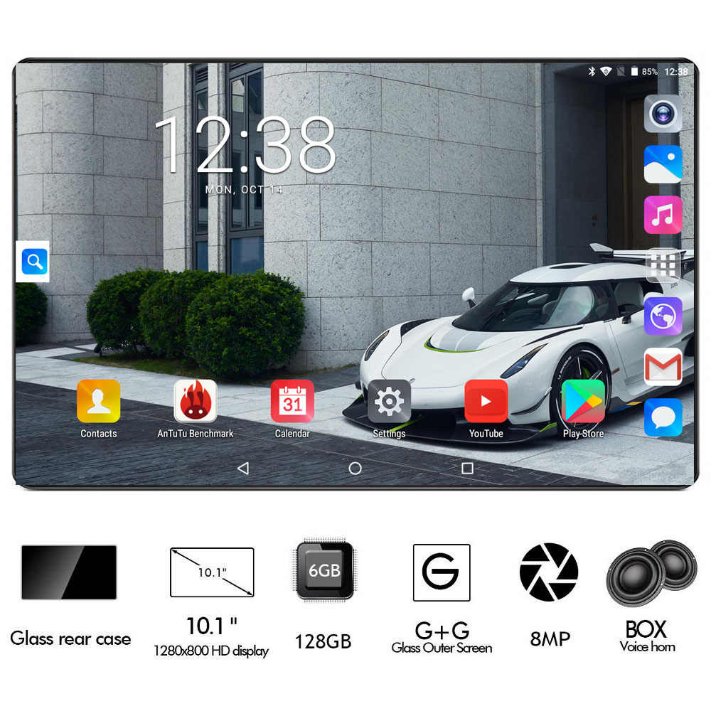 عالمي 10 بوصة اللوحي 6GB RAM 128GB تخزين فابلت ثماني النواة مقفلة 4G هاتف محمول أقراص المزدوج سيم بطاقة فتحات واي فاي لتحديد المواقع الوسادة