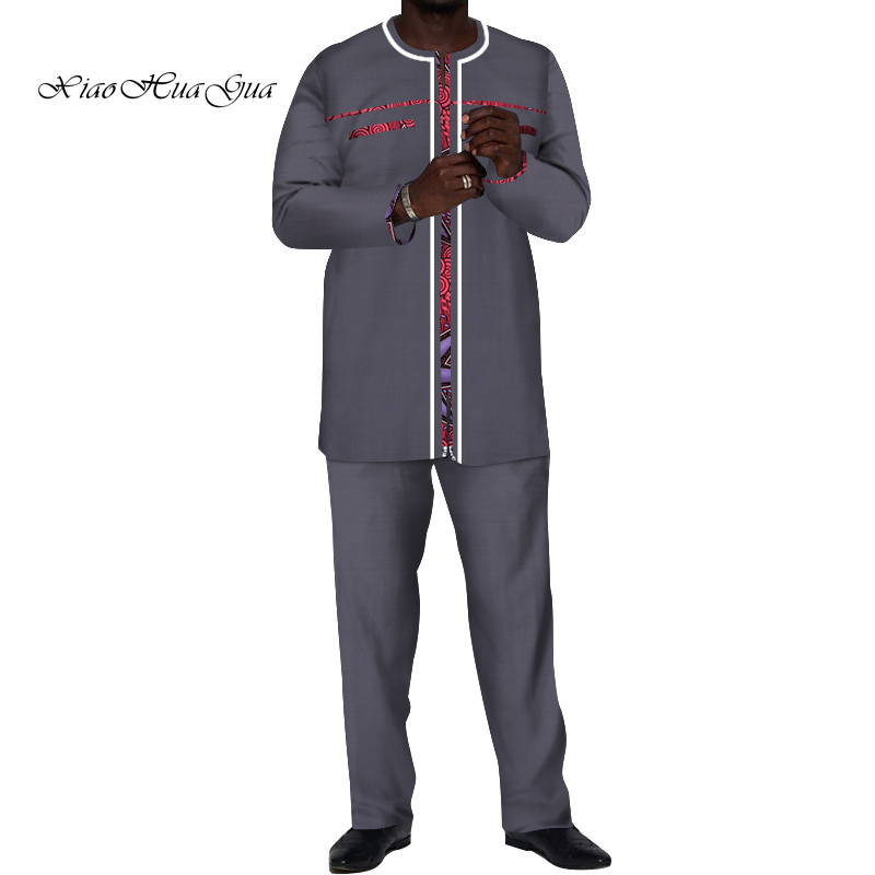 2019 <font><b>Men</b></font> Long Top and Pants Sets <font><b>African</b></font> <font><b>Wax</b></font> Print 2 Pieces <font><b>shirts</b></font> Pants Sets for <font><b>Men</b></font> Traditional causal party Batik wyn520 image