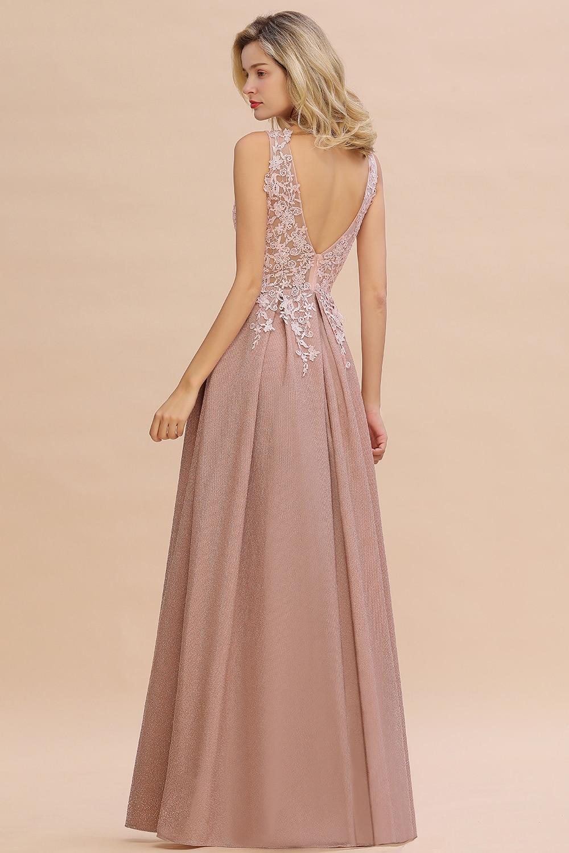 2020 nouveautés longues robes de soirée en dentelle col en v robe à fermeture éclair robes formelles vraies Photos Vestidos Elegantes - 3