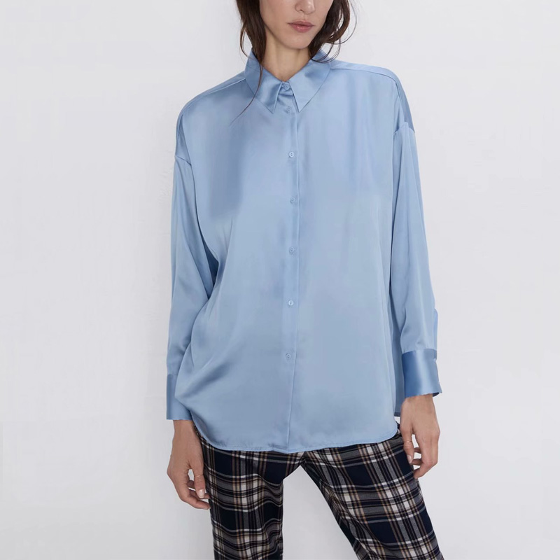 Women Shirt Casual Solid Color OL  Shirt Female Long-sleeved Shirt Lapel
