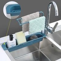 Cesta de almacenamiento y organizador para fregadero de cocina, escurridor de platos, organizador de jabón ajustable telescópico, toalla, estantes de baño, accesorios de cocina