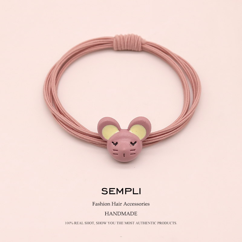 Sempli Good Quality Alloy Mouse Charm Elastic Hair Bands Girls High Elasticity Nylon Hand Knotted Women Kid Children Rubber Band