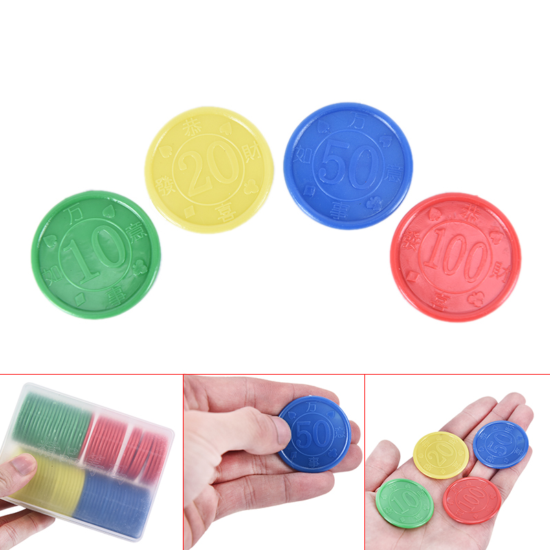 160pcs Plastic Poker Chips Value 10 20 50 100 Large Numbers for Tokens Coins Board Game Chips Penglai Plastic Poker Chips Value