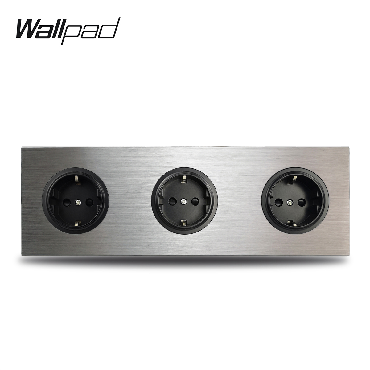 Wallpad 3 Gang Triple Frame EU Wall Electric Socket German Plug Outlet Silver Brushed Aluminum Panel Double Plate 172 * 86 Mm