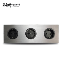 Wallpad 3 Gang Triple Frame EU Wall Electric Socket German Plug Outlet Silver Brushed Aluminum Panel Double Plate 172 * 86 mm uk double 1 gang 3 pin 15a socket 2017 hot sale china manufacturer wallpad luxury wall outlet