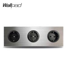 Wallpad 3 Gang Triple Frame Eu Muur Elektrische Socket Duitse Plug Outlet Zilver Geborsteld Aluminium Paneel Dubbele Plaat 172*86 Mm