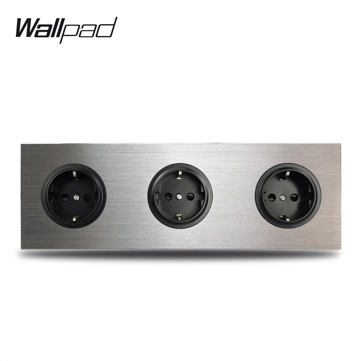 Wallpad 3 Gang Triple marco EU toma de corriente de pared enchufe alemán salida plateado aluminio cepillado Panel doble placa 172*86mm