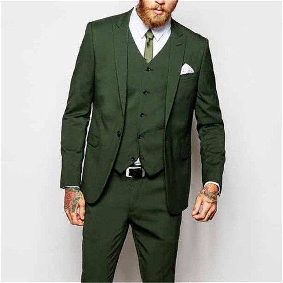 Veiai Men Suit Custom Wedding Groom Tuxedos New Fashion 3 Pieces Green Evening Party Peaked Lapel One Button (Jacket+Pant+Vest)