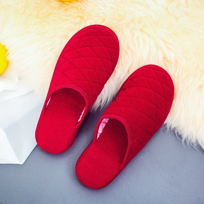 Spring Indoor Home Cotton Slippers Handmade Cotton-padded Shoes Solid Color Warm Men And Women Cotton Slippers