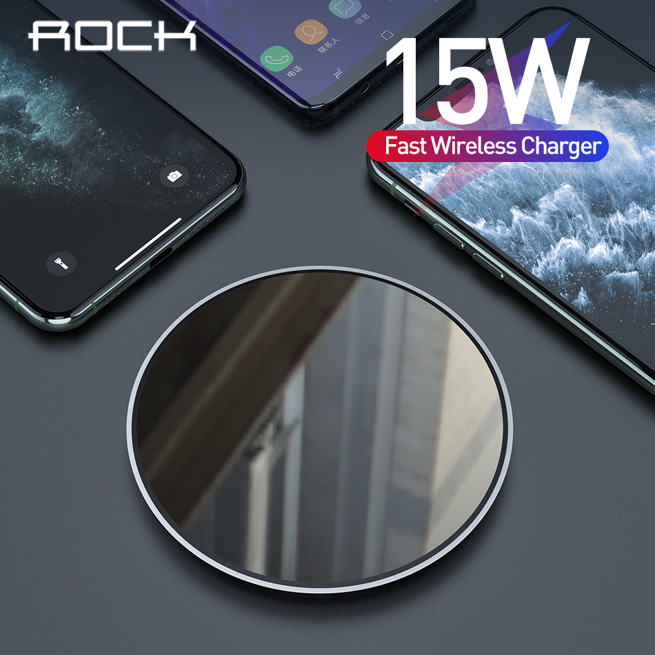 ROCK 15W Qi Wireless Charger For IPhone 11pro X XS Xiaomi 9 Samsung Huawei Mobile Phone Fast Wireless Charger Pad USB Charging