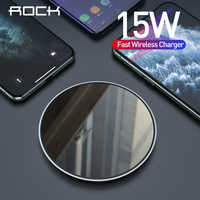 ROCK 15W Qi Wireless Charger For iPhone 11pro X XS Xiaomi 9 Samsung Mobile Phone Fast Wireless Charger Pad USB Charging