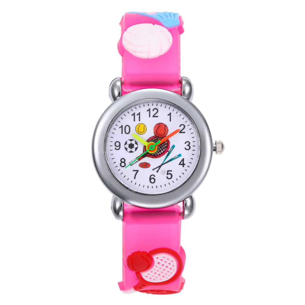 Pink Children Watch Silicone Strap Boys Girls Quartz Watch Stereo 3D Badminton Cute Students Clock Montre Enfant New Year Gifts
