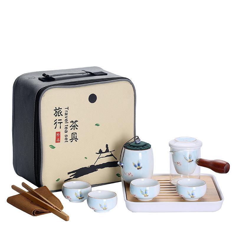 Tea Set Travel Kung Fu Tea Set Ceramic Portable Teapot Porcelain Teaset With Travel Bag Tea Cups Of Tea Ceremony Tea Caddies