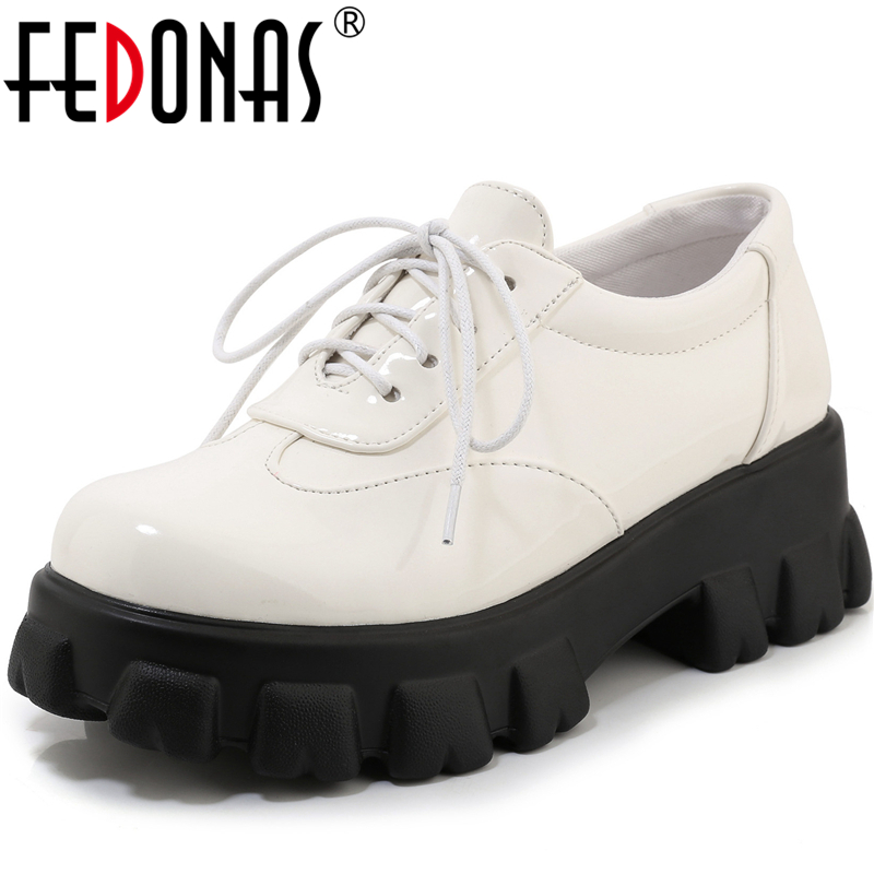 FEDONAS Women Pumps Patent Leather Casual Shoes Spring Summer Four Season Lacp Up Slip On High Quality Fashion Shoes WomanWomen