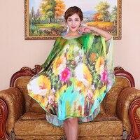 100% Silk Oversize Summer Women Printing Sleepwear Loose Leisure Bat sleeve mulberry silk Nightgowns Plus Size Nightdress