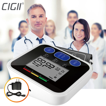 Cigii Upper Arm blood pressure Pulse monitor LCD Portable Home Health Care 1pcs Digital Tonometer Meter Pulse oximeter 1