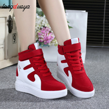 red sneakers women 2020 High top Platform Sneakers women Casual Wedges shoes Womens Shoes Black Platform Vulcanize Shoes Women dumoo girl super high heel 8cm cow leather casual shoes women sneakers leisure platform shoes wedges casual shoes mixed color