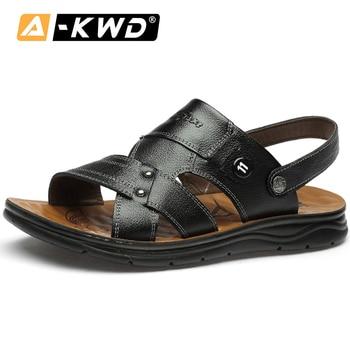 2020 Men Leather Sandals Summer Beach Slippers Men Casual Shoes Soft Roman Sandals Men Comfort Walking Footwear Sandalias Hombre