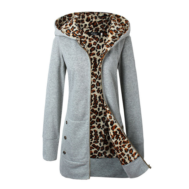 The latest fashion women's hooded thick leopard print sweater + jacket casual long-sleeved mid-length plus velvet winter hoodie 4