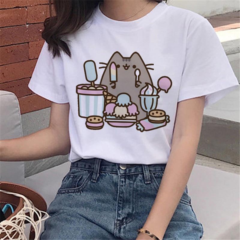 LUSLOS Cartoon Short Sleeve Round Neck Tops Pusheen Cat Series Harajuku Women Female T Shirt Fashion White T-shirts Graphic Tees