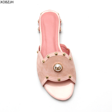 Summer Flat Sandals Women Shoes 2019 luxury Brand Designer Sandals Pink Ladies Leather Sandals Shoes Woman Slippers Plus size 11 цены онлайн