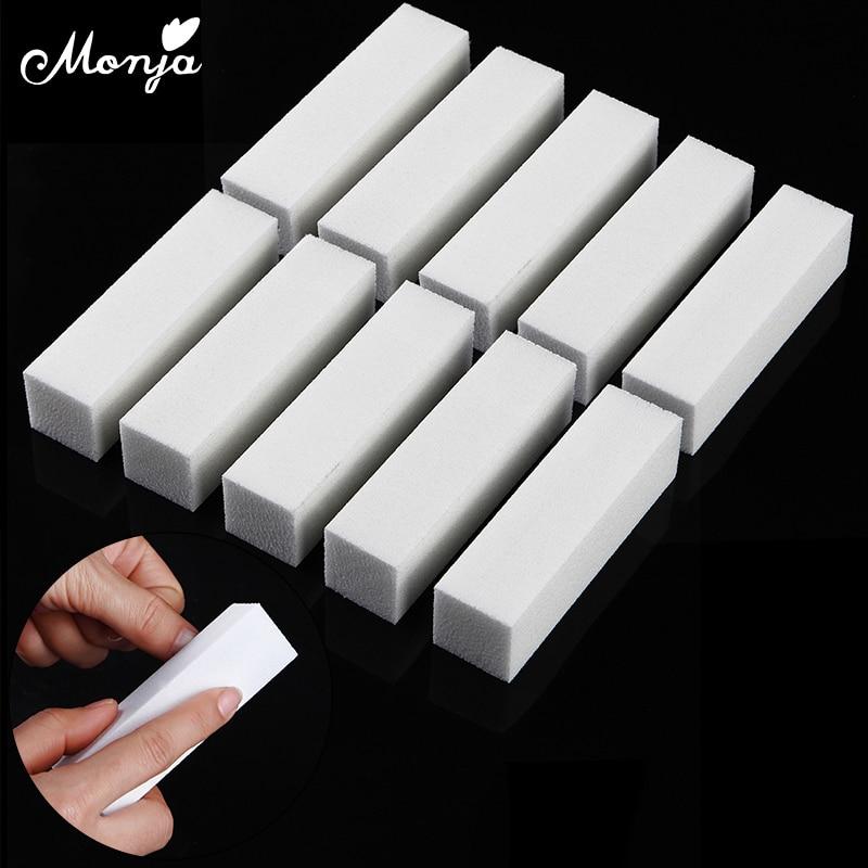Monja 10Pcs White Nail Art Buffer Block Sanding Polishing Sponge Nail Files Fingernail Toe Buffing Grinding Manicure Tools