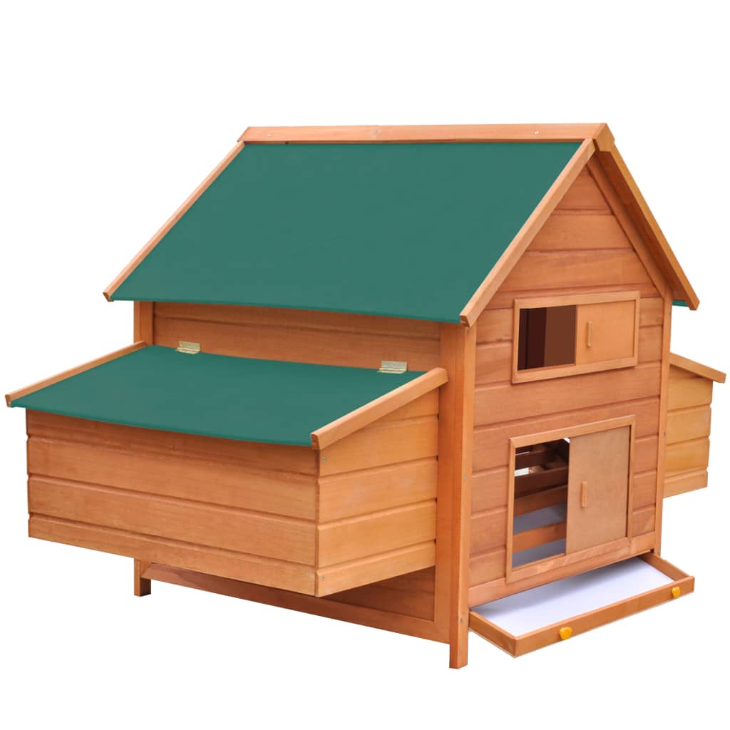 """Chicken Coop Wood 61.2""""x38.2""""x43.3"""" Solid Pinewood Green Waterproof Roofs Ventilation For Chickens Easy Assemble Chicken House"""