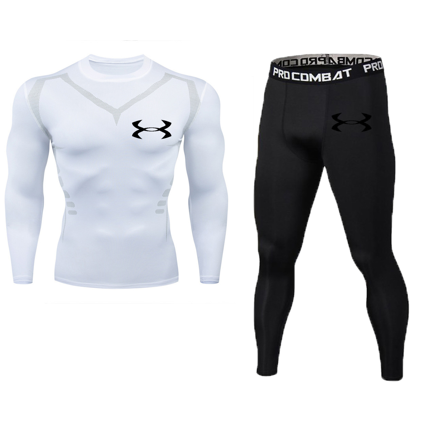 24-hour Delivery Men's Sports Running Suit Compression T-shirt + Pants Tight Long-sleeved MMA Training Clothes Gym Yoga Clothes