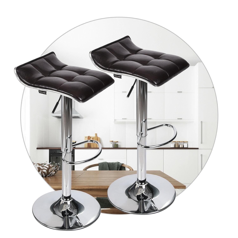 2x Bar Stools Breakfast Pub Chairs PU Leather Swivel Gas Lift Kitchen Cushioned