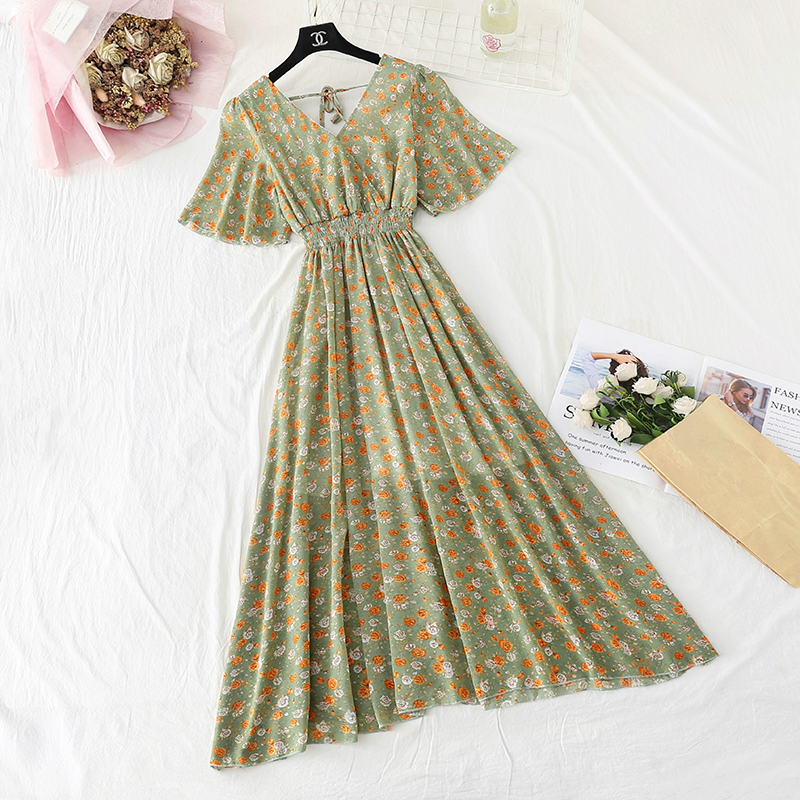Summer Fairy Dress Women French Style Vintage Retro Chiffon Dress Short sleeve Casual Elegant Floral Print Dress Women 2021 New 9