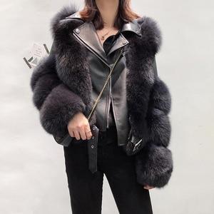 Image 1 - New Arrival Womens Fashion Fur Coats Real Full Pelt Fox Fur Outerwear Genuine Sheepskin Leather Jackets S7650