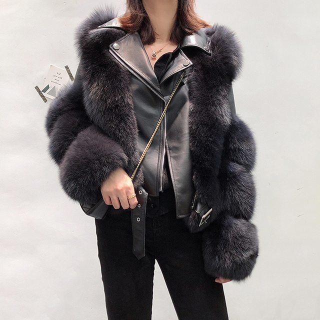 New Arrival Womens Fashion Fur Coats Real Full Pelt Fox Fur Outerwear Genuine Sheepskin Leather Jackets S7650
