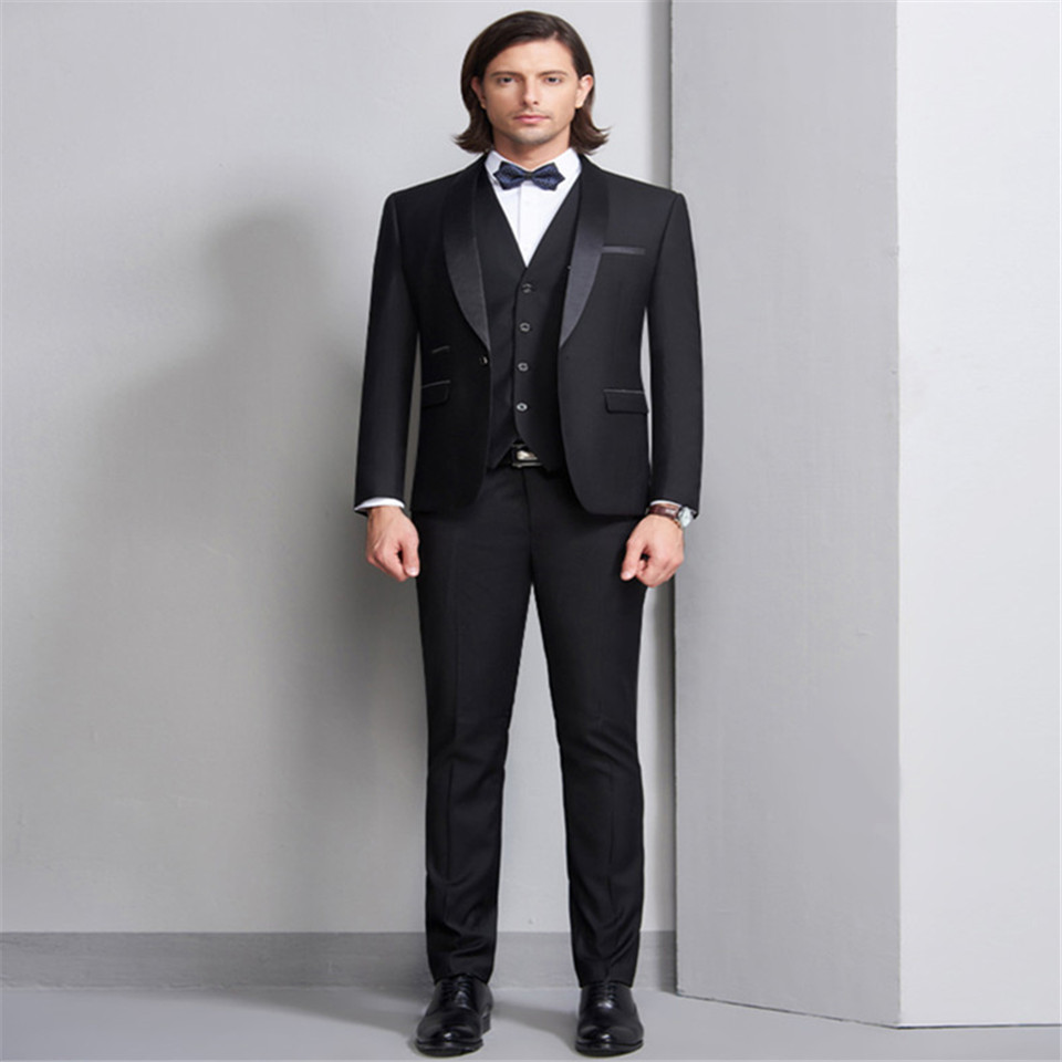 New Men's Suit Smolking Noivo Terno Slim Fit Easculino Evening Suits For Men Black West Decoration Body Groom Shawl Collar Forma