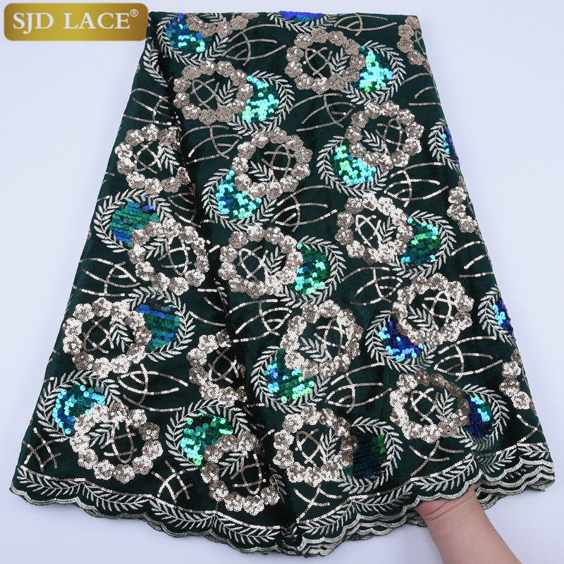 Image 5 - African Velvet Lace Fabric With Sequins Nigerian French Velvet  Lace Fabric High Quality Sequined Velvet For Wedding Dress A1753Lace