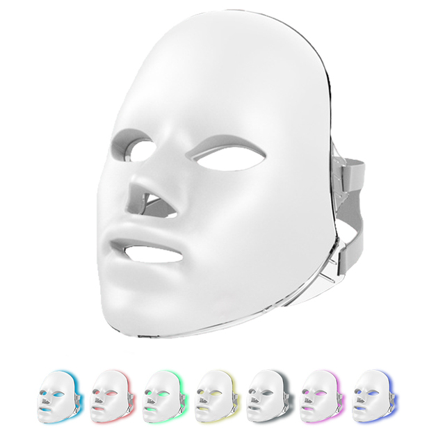 Led Mask 7Colors Led Facial Mask Photon Therapy Face Mask Light Therapy Skin Rejuvenation Therapy Wrinkle Acne Tighten Skin Tool