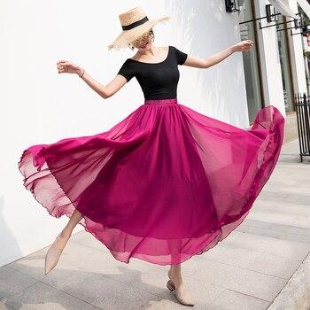 Maxi Skirt Longa Boho Solid Chiffon High-Waist Women Casual  Big-Swing Streetwear Summer Female Half-Long